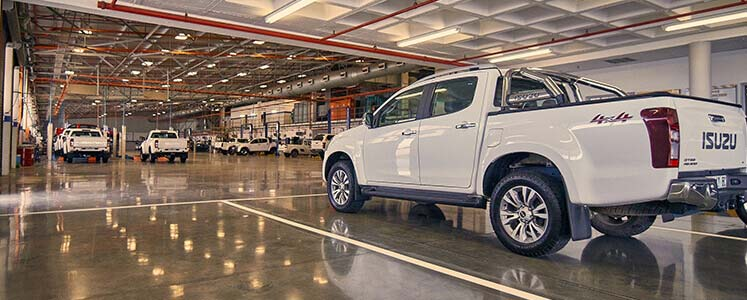 Isuzu bakkie on factory floor